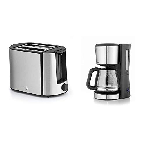 WMF Bueno Pro Toaster Edelstahl, 2 Scheiben, 6 Bräunungsstufen, 870 W, edelstahl matt & BUENO Filterkaffeemaschine Glas, 10 Tassen, Kaffeemaschine mit Aromaglaskanne, cromargan/silber, 1000 W