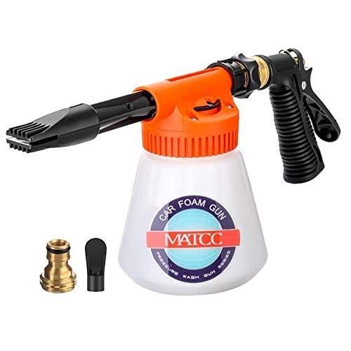MATCC Car Foam Gun Foam Cannon Blaster 6 Adjustment Ratio Dial Foam Wash Gun Connects to Any Garden Hose Foam Sprayer for Car Home Cleaning with 0.23 Gallon Bottle