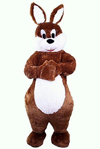 Hasen-Kostüm Super Deluxe | Bis Max.1,80m Körperlänge | Großer Bauch | Osterhase | Promotion-Qualität | Mit Kopf | Braun Weiß