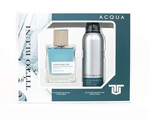 Titto Bluni Acqua Uomo Eau de Toilette Natural Spray 75ml + Deodorant Spray 200ml