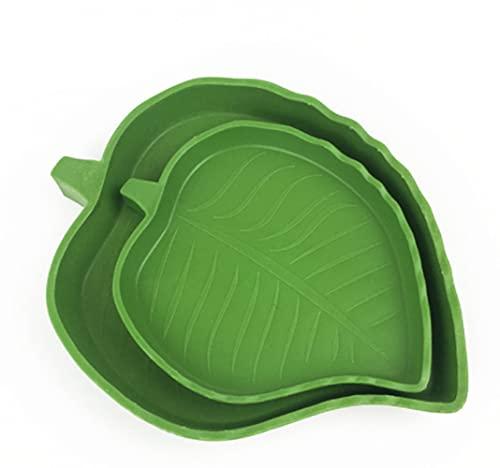 LATRAT - Juego de 2 platos de comida para reptiles, en forma de hoja para beber y comer de tortuga, plato de comida de tortuga, para lagarto, gecko dragón Barbu