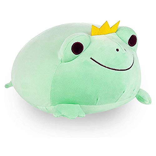 Soft Stuffed Durable Adorable Plush Frog Plush Pillow Stretchy Plush Frog Pet Animal with Crown Skin-Friendly Hugging Sleeping Creative Pillow Toy For Children Birthday Gifts