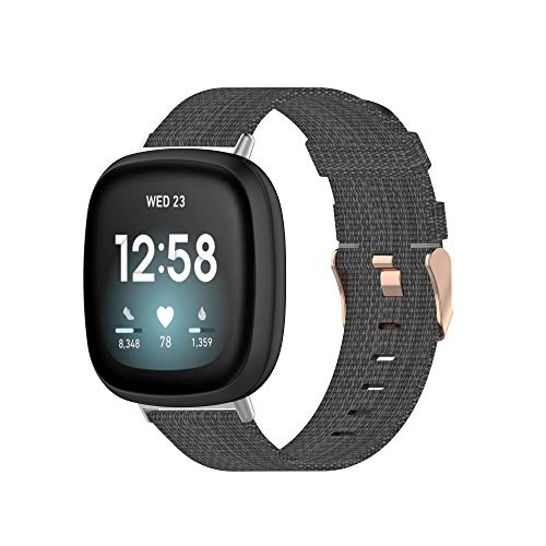Tencloud Correa compatible con Fitbit Versa 3 & Sense, correa ligera de tela de nailon a rayas, banda de repuesto para reloj inteligente Fitbit Sense/Versa 3 (gris oscuro)