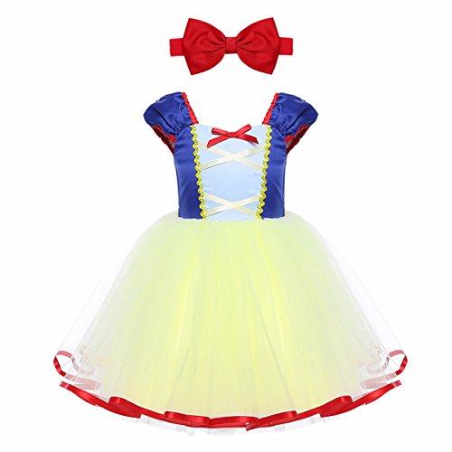 TiaoBug Schneewittchen Kostüm Baby Mädchen Prinzessin Kleid Märchen Cosplay Karneval Fasching Halloween Kostüm Blau&Gelb 104-110 (Herstellergröße:120)