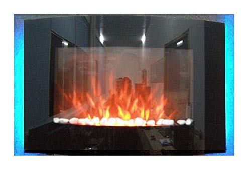 TruFlame 2020 7 colour Side LEDs Wall Mounted Arched Glass Electric Fire with Pebble Effect (88cm wide)