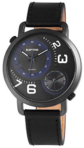 Raptor Herren-Uhr Armband Oberseite Echtleder 2 Zeitzonen Analog Quarz RA20099