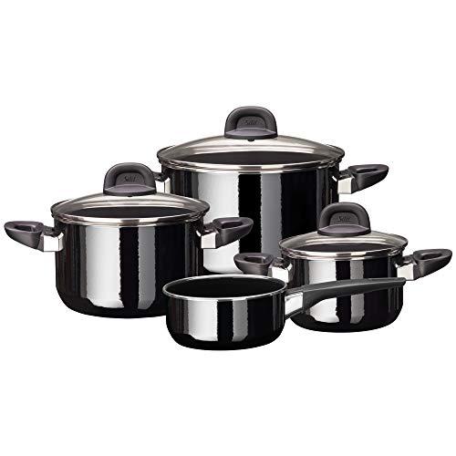 Silit Modesto Line Lot de 4 casseroles avec couvercle en verre et céramique Silargan Noir