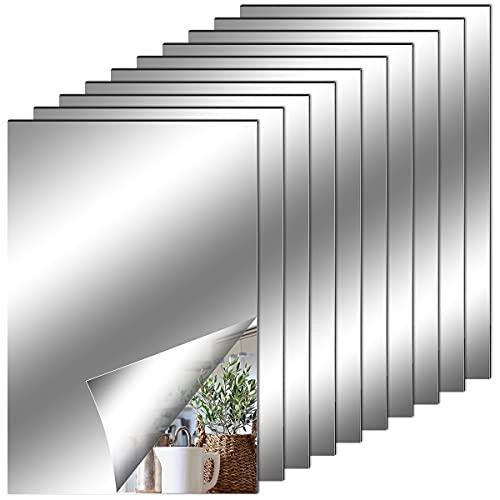 Espejos Autoadhesivos Pared, Hojas de Espejo Flexibles Suaves no de Vidrio Pegatinas de Espejo para Decoración del Hogar, Sala de Estar, Baño, Dormitorio (10 x 15 cm)
