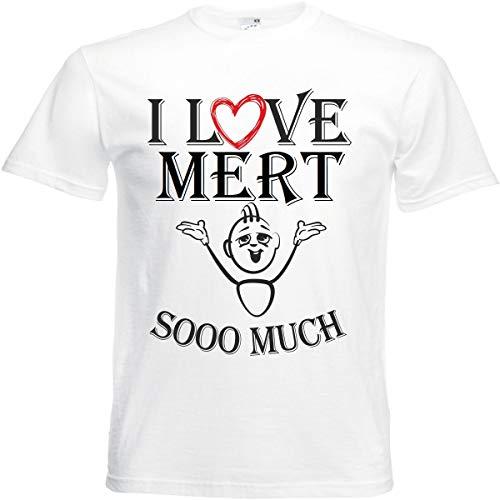 Camiseta I Love Mert para mujer, hombre y niños en color blanco. Blanco XXXXL