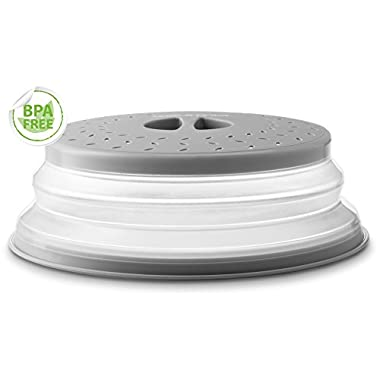 Gourmia GML9930 Collapsible Microwave Cover – Dome or Flat Bowl and Plate Lid - Prevents Food Splatter, Keeps Oven Clean - Expands from 1  to 3.5  High - Perforated for Ventilation - BPA Free