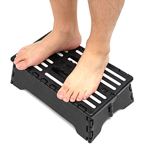 "Portable Folding Step Stool, 5"" Lightweight Half Step Raiser Heavy Duty Non Slip Plastic Step Stool Height Boost"