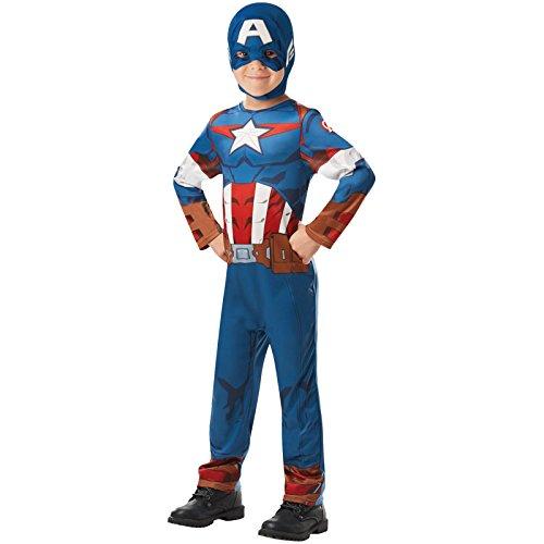 Rubie's Marvel Avengers Captain America Costume classique pour enfant, garçons, 640888 9-10, bleu, ans