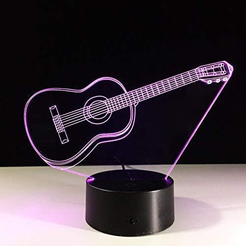 SFSF Optische 3D-LED Illusion Lampen-Nachtlicht-Gitarre 7-Farben-Nacht s für Kinder Noten-Tabelle ara Schlaflicht mit Bewegungssensor