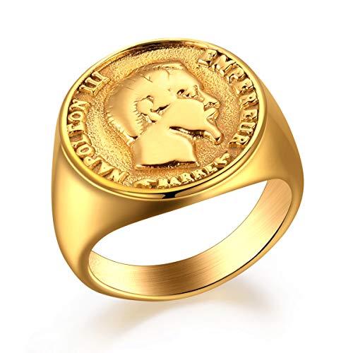 Valily Anello Sigillo Uomo Moneta Francese in Acciaio Inossidabile Placcato Oro Napoleon III 20 Franchi Taglia 24