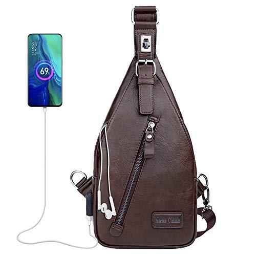 Alena Culian Sling Bag Men Leather Chest Bag Travel Sport Crossbody Shoulder Bag Daypack Backpacks (fashion brown)