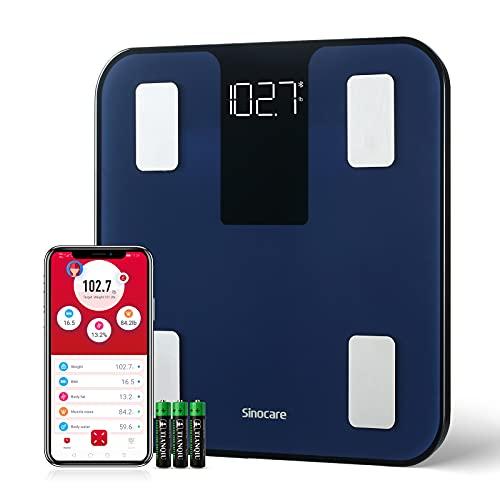 Körperfettwaage, Sinocare Personenwaage App Smart Scale Digitale Waage Gewichtswaage für Körperfett BMI Gewicht Muskelmasse Wasser Protein Skelettmuskel Knochengewicht BMR Blau