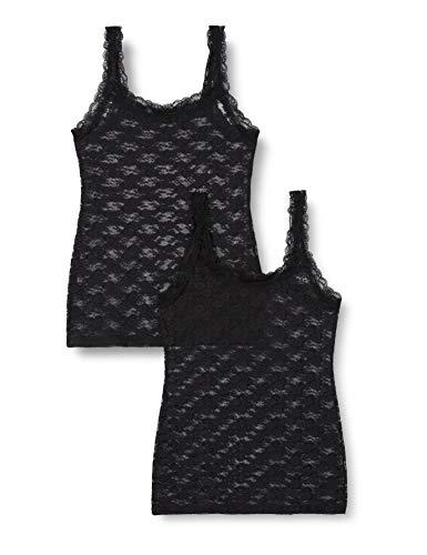 Marca Amazon - Iris & lilly Camiseta de Tirantes de Encaje Mujer, Pack de 2, Negro (Black), S, Label: S