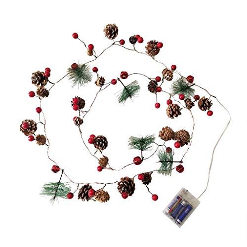 XXLYY Luces de Navidad para interiores, funciona con pilas, para árboles de Navidad, decoraciones, guirnalda de conos de pino de Navidad, guirnalda de luces LED de hadas para decoración de Navidad, do