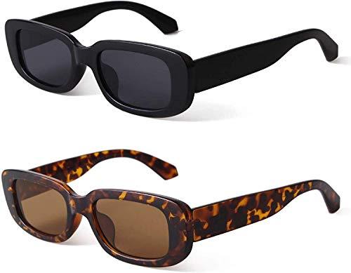 JFAN Occhiali Da Sole Rettangolari Donna Uomo Vintage Cornice Quadrata Protezione UV400 Occhiali moda stretti