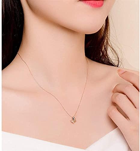 GQGQ Oro 18K Diamante Mariposa Colgante con Cadena Collar, Aniversario Joyería para Esposa, Regalos para Madre/Novia