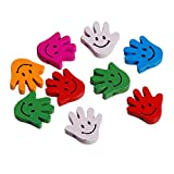 Colorful Wood Spacer Beads Hand at Random Smile Emoji Pattern 20Mm(6/8') X 20Mm(6/8'), Hole: Approx 2.1Mm, 50 Pcs