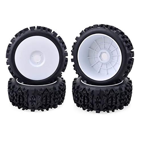 HDHUIXS Aplicable 4 X 17 mm del Eje de Rueda llanta de neumático Profundo del Diente por 1/8 Off-Road del Coche de RC Durable (Color : White)
