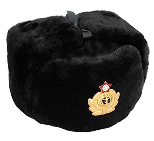EU ID/ÉE Cadeaux RUSSIANSTORE Cucuba/® Chapeau DE Fourrure Original Russia Ushanka DE LA Marine Militaire Trapper Bonnet ET Badge Taille 56-57-58-59-60-61-62