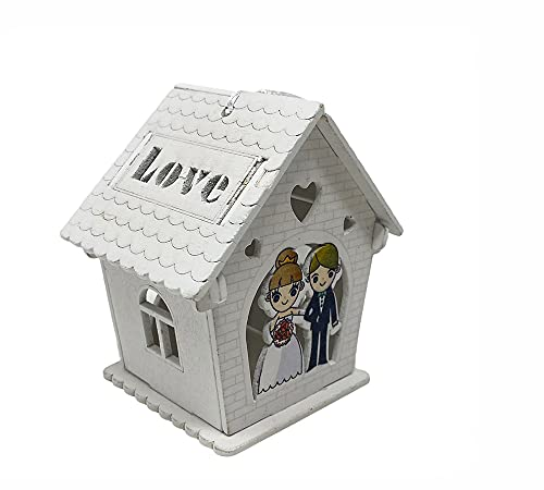 vet italy Vetrineinrete Bomboniera Matrimonio scatolina in Legno portaconfetti a casetta con sposi a braccetto