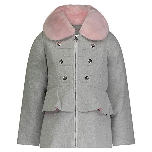 Jessica Simpson Girls' Dress Coat Jacket with Cozy Collar, Heather Grey, 2T