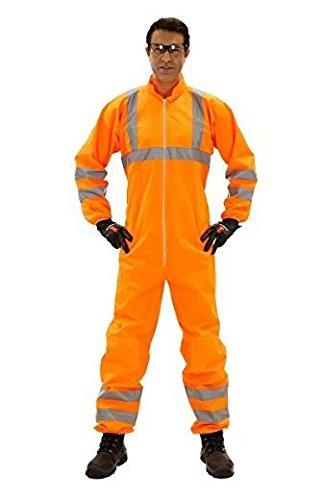 Einweganzug für Karneval Fasching Verkleidung Kostüm/Einweg-Warnschutz-Overall Anzug/Schutzanzug mit Signalfarbe orange mit Reflektoren/Werde zum Müllmann Maler Lackierer Bauarbeiter, Größe:XL