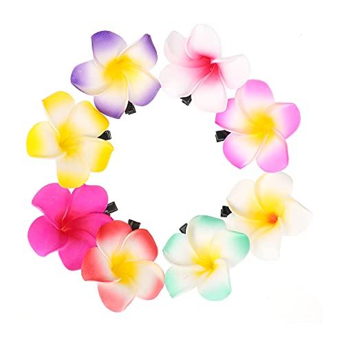 ifundom Hawaiian Flower Hair Clips, 24 Pieces Plumeria Flower Clips Hawaiian Foam Flower Hair Clips Artificial Clips for Bridal Wedding Party Beach Hair (2.36inch, 24PCS)