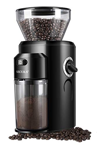 Secura Burr Coffee Grinder, Conical Burr Mill Grinder with 18 Grind Settings from Ultra-fine to...