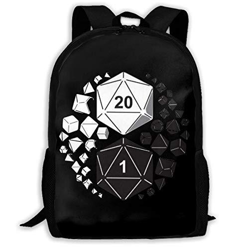 Overlooked Shop Dice Yin Yang School Backpack,Lightweight Multi-function Backpack College Bookbag Travel Laptop Bag