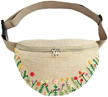 Embroidered fanny pack for women Flowers waist bag Small linen bum bag product image