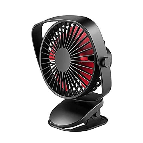Bureauventilator, Mini Clip op Wandelwagen Ventilator, 3 Snelheden Personal Desk Fan met USB oplaadbare batterij uitgevoerd 360 ° rotatie for thuis babybed kantoor auto buiten (Color : Black)