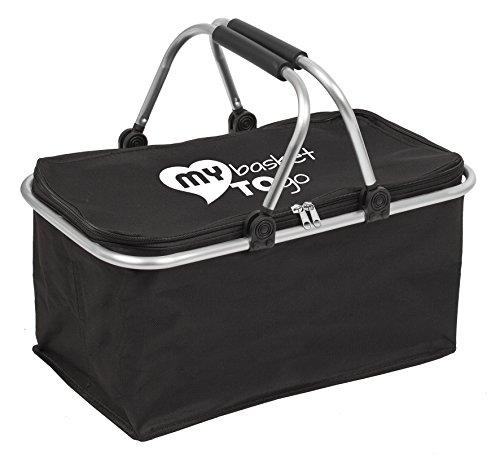 Cesta de la Compra Plegable, Reutilizable, Estable MY Basket TO GO con Cierre y Asas Plegables, cesto para Camping, Picnic, supermercado, Coche Ligera 0,6 kg, Alta Capacidad de Carga, Colore Negro