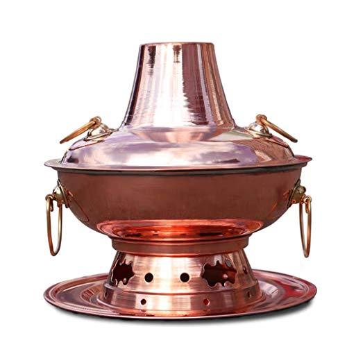 "Old Copper Hot Pot Fondue Shabu Shabu Induction Cooker Use Stew Cook Soup Pot Multi Function for Home Use (Color : Single, Size : 34cm/13.4"")"