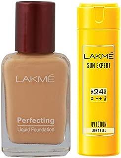 Lakme Perfecting Liquid Foundation, Marble, 27ml & Lakme Sun Expert SPF 24 PA Fairness UV Sunscreen Lotion, 60ml