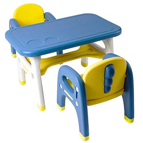 Tiny Geeks - Juego de Mesa y sillas Infantiles - Ideal para Actividades en casa - Mesa Infantil con Dos sillas - Fácil Limpieza y Montaje - Materiales Seguros y Resistentes Nuevo 2021 Azul y Amarillo