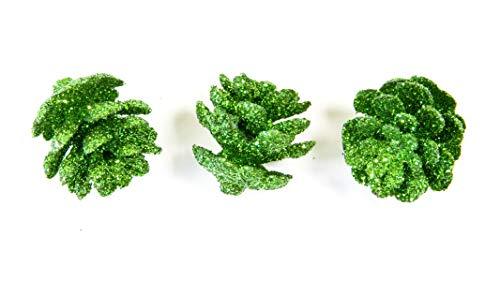 Visiodirect Lot de 10 Mini-Pomme De Pin Pailletée - Vert Foncé