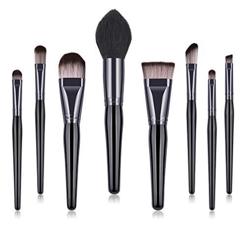 Lurrose 8pcs maquillage brosse poils de nylon prime poignée en bois blush pinceau poudre pinceau cosmétiques pinceau pour filles dames femmes