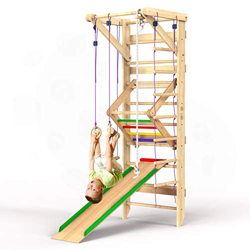 Wooden Swedish Ladder Wall Set – Kids Stall Bars for Exercise – Kids Swedish Gymnastic Wall Gym...