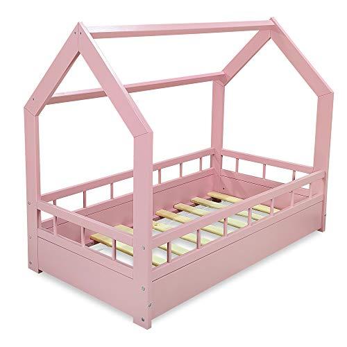 MS FACTORY Cama Infantil de Madera Pino - Cama Montessori Forma de Casa 70x140 cm para Niño y Niña - Barandilla Seguridad, Lamas Somier - Rosa