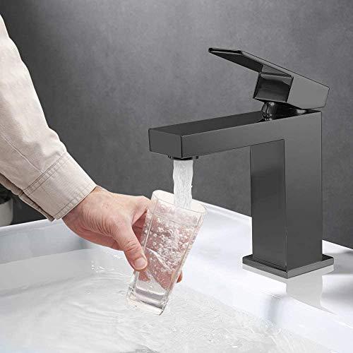 LionRoar - Grifo mezclador de baño de acero inoxidable, acabado negro mate para lavabo con boquilla de agua fría y caliente