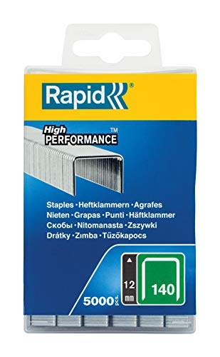 Rapid 40303091 Flachdrahtklammer Typ 140/12mm, 5.000 St. Wiederverschließbare Kunststoffbox, silber, 12 mm
