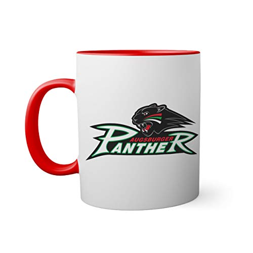 Ice Hockey Team Augsburger Panther Eishockey Tasse innen und am Henkel rot außen weiß Mug| Lustige Neuheitstassen für Kaffee und Tee 330ml