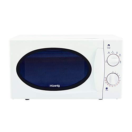 H.Koenig Micro-ondes VIO6 Compact 20L Blanc, Puissant 700W, Plateau tournant 24,5cm, Multifonction 5 niveaux de chauffe et fonction décongélation, Minuterie jusqu'à 30min, Rapide, Plan de travail