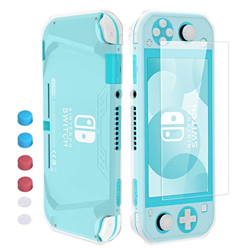 Compatible Nintendo Switch Lite Case, HEYSTOP Soft TPU Protective Case Cover for Nintendo Switch Lite with Tempered Glass Screen Protector and Thumb Stick Caps(Clear)