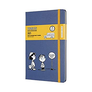 Moleskine Limited Edition Peanuts 12 Month 2021 Weekly Planner Hard Cover Large  5   x 8.25    School Bus   DPE12WN3Y21