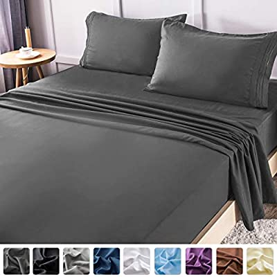LIANLAM Queen Bed Sheets Set - Super Soft Brushed Microfiber 1800 Thread Count - Breathable Luxury Egyptian Sheets 16-Inch Deep Pocket - Wrinkle and Hypoallergenic-4 Piece(Queen, Dark Grey)